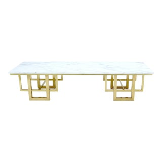 Rectangle White Marble Coffee Table on Polished Brass Base For Sale