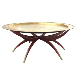 1960s Coffee Table - Spider Base with Brass Tray