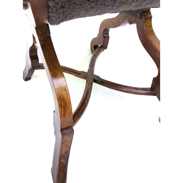 20th Century Italian Cross Base Neoclassical Wood Armchair For Sale - Image 9 of 11