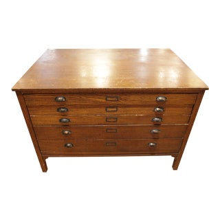 Antique Oak Flat File Drawer Cabinet for Maps For Sale