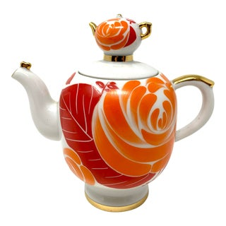 Vintage Soviet Orange Teapot For Sale