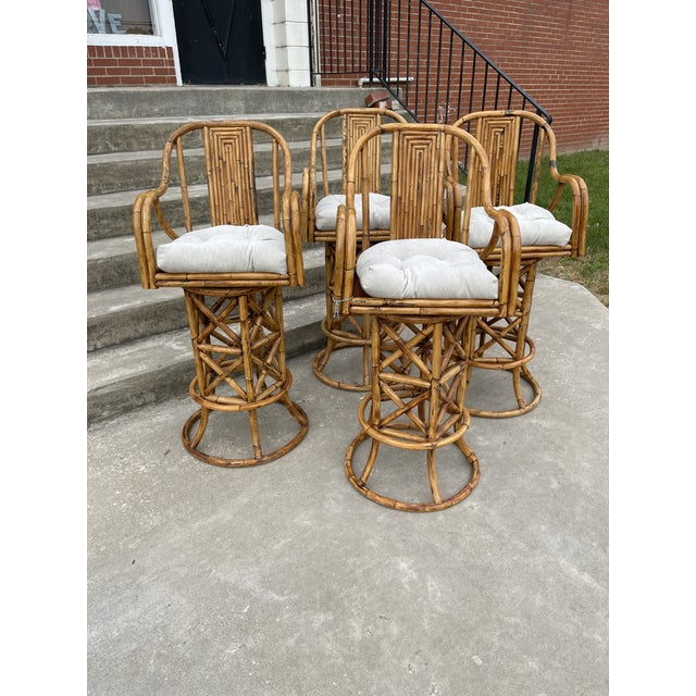 Brown Burnt Bamboo Barstools - Set/4 For Sale - Image 8 of 8