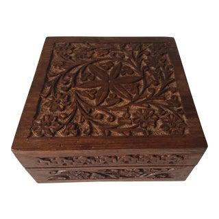 Indian Vintage Square Carved Wood Box