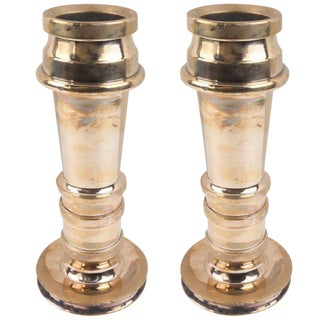 Originally Fire-Hose Nozzles Brass Vases / Candle Stands - a Pair For Sale