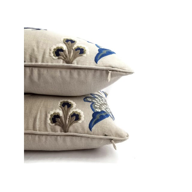 """Not Yet Made - Made To Order Manuel Canovas Bordeaux Ciel Blue & Light Tan Linen with Self-Welt Pillow Cover - 20"""" X 20"""" For Sale - Image 5 of 6"""