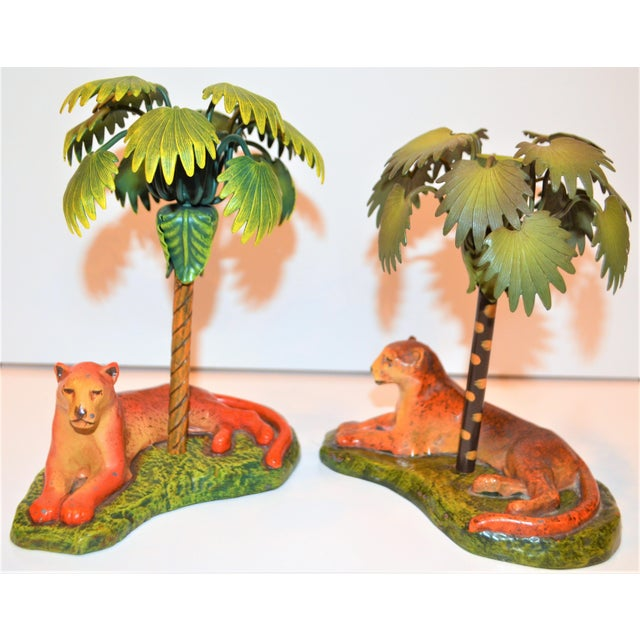 Art Deco Vintage Art Deco Metal Leopard and Palm Tree Candleholders - a Pair - a Pair For Sale - Image 3 of 7
