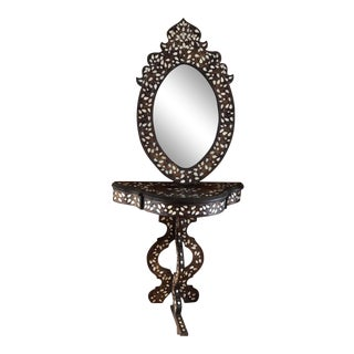 1900s Moorish Syrian Inlaid Mother-Of-Pearl and Walnut Wood Mirror and Vanity Table For Sale
