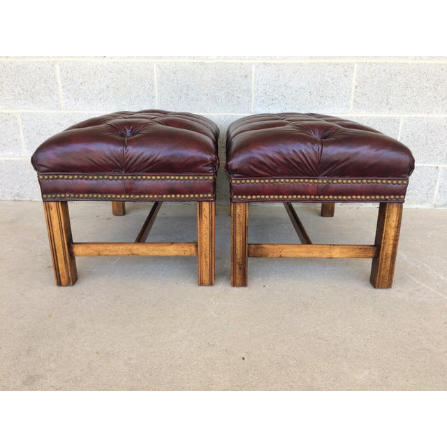 Chippindale Style Stretcher Base Oxblood Footstools A Pair - Image 7 of 9