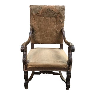 18th Century Antique French Louis XIII Armchair For Sale