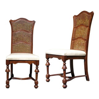 Vintage Pair Ethan Allen Jacobean Style Triple Cane High Back Dining Chairs For Sale