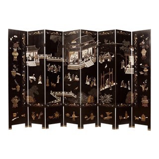 Antique Eight Panel Chinese Export Coromandel Black Lacquer Screen / Room Divider - the Pavilion For Sale