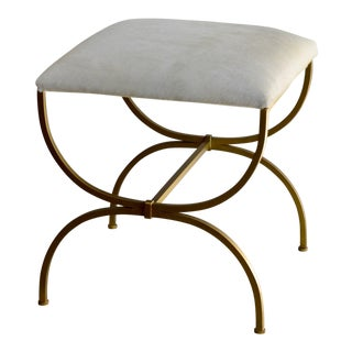 "Design Frères Contemporary ""Strapontin"" Gilt Metal and White Hide Stool For Sale"