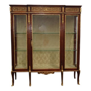 19th Century French Louis XVI Display Cabinet Vitrine W Ormalu & Glass Doors For Sale