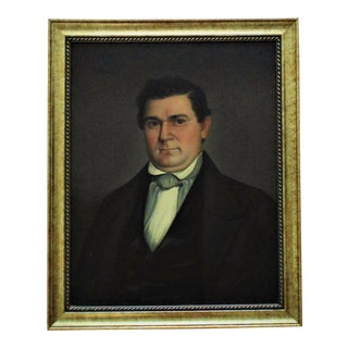 19th C. American School Portrait Painting For Sale