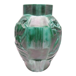 Art Deco Malachite Glass Vase by Arthur Pleva / Curt Schlevogt / Moser Glass Czech 1930s For Sale