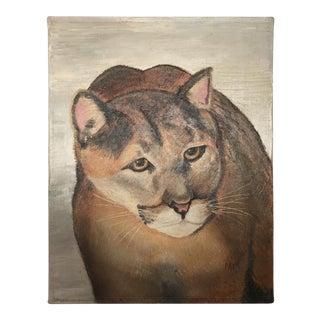 Vintage Oil On Canvas Mountain Lion