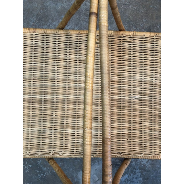 Wood French Rattan Picnic /Trunk Basket For Sale - Image 7 of 8