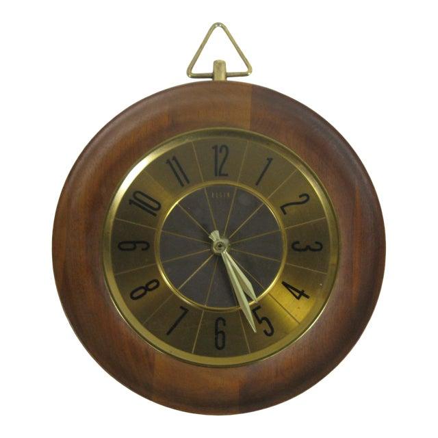 1960s Mid Century Modern Elgin Wall Clock For Sale