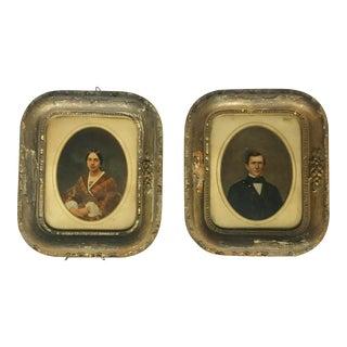 Antique Hand Painted Portraits - a Pair