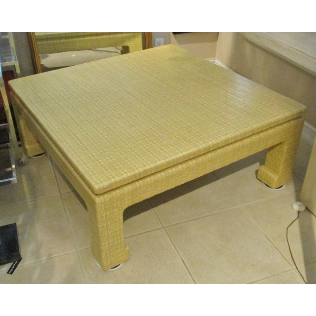 Mid-Century Karl Springer Style Lacquered Grasscloth Coffee / Cocktail Table For Sale - Image 9 of 9