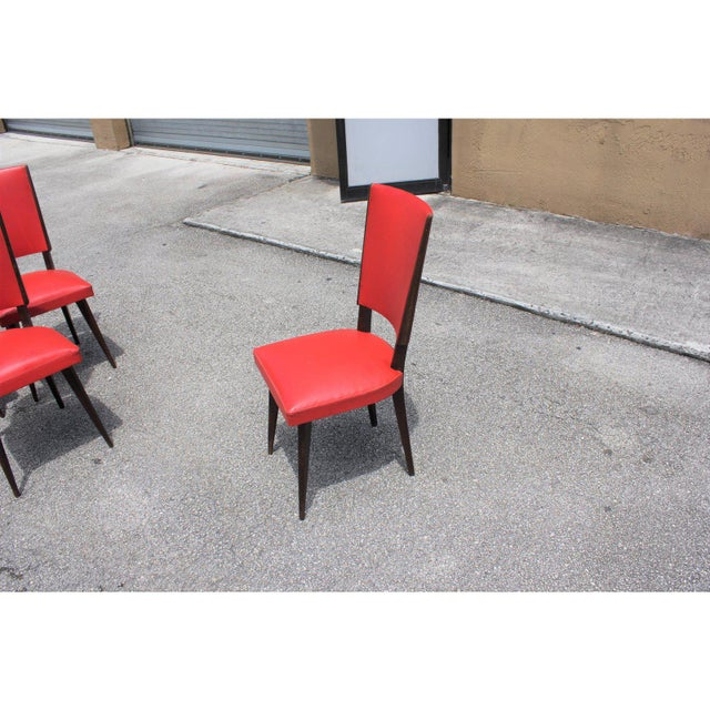 1940s Vintage French Art Deco Solid Mahogany Dining Chairs- Set of 5 For Sale - Image 9 of 13