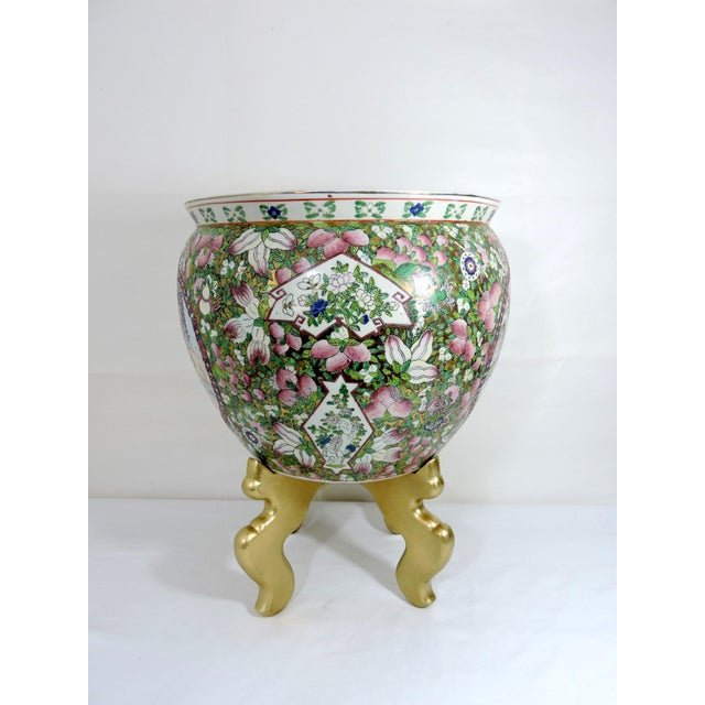 Mid 20th Century Rose Mandarin Goldfish Bowl Planter and Stand For Sale - Image 4 of 8