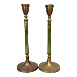 Mid-Century Indian Mixed Metals Candlesticks - a Pair For Sale