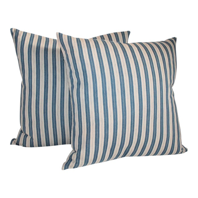 Striped Ticking Pillows - A Pair For Sale
