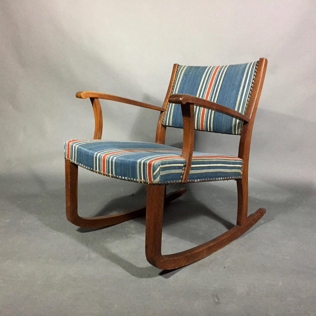1940s Danish Rocking Chair, Oak and Wool Stripe For Sale - Image 12 of 12
