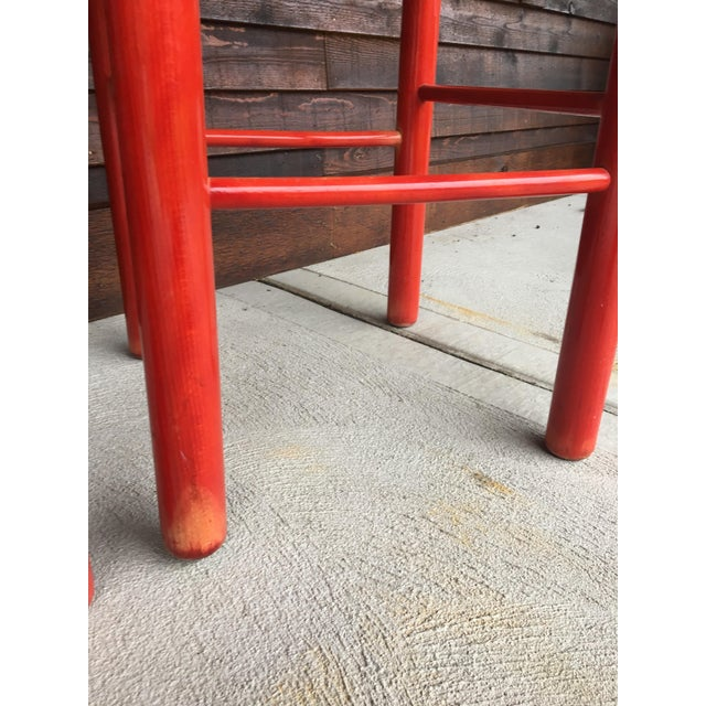 Red 1960s Mid-Century Modern Cassina Style Red Cane Seat Bar Stools - a Pair For Sale - Image 8 of 12