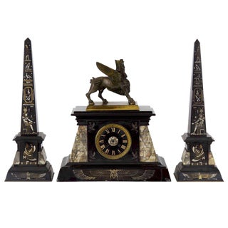 Circa 1880s French Egyptian Revival Three-Piece Clock Garniture w/ Obelisk