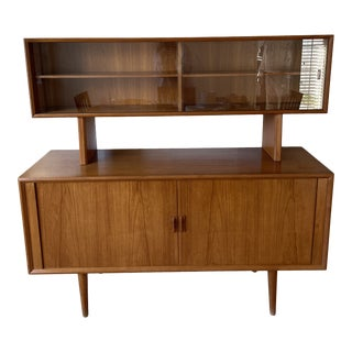 Mid 20th Century Danish Teak Credenza With Floating Hutch For Sale