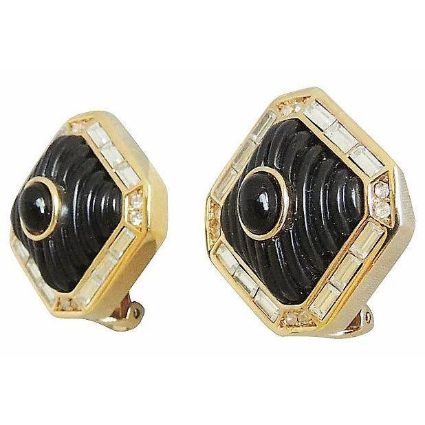 Christian Dior Dior Black Lucite & Faux-Onyx Earrings, 1984 For Sale - Image 4 of 8