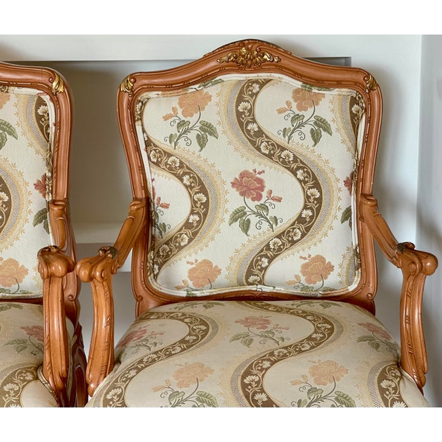 Lewis Mittman Lewis Mittman French Louis XV Style Arm Chairs - a Pair For Sale - Image 4 of 8