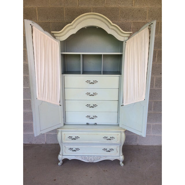 French Provincial Hickory White French Provincial Armoire For Sale - Image 3 of 11
