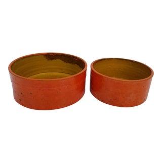 Denmark Orange Glazed Ceramic Bowls - A Pair For Sale