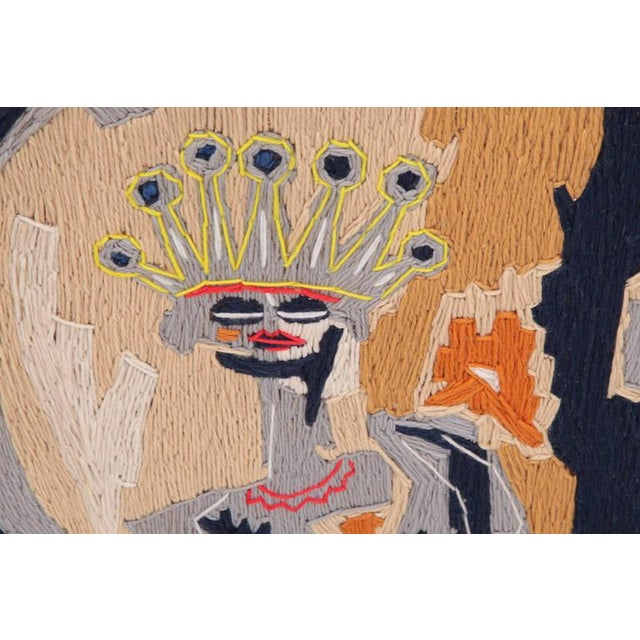 Stunning and unusual woven yarn art by Harold Laynor. This example has a Basquiat feel with abstract figures and hues of...