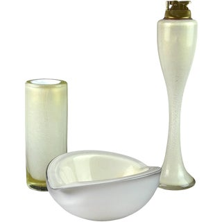 Barbini Murano White Gold Flecks Italian Art Glass Bowl, Vase, Lighter Set For Sale