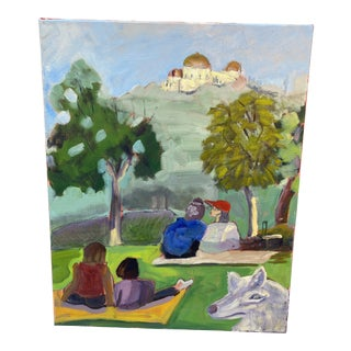 """""""Barnsdall Art Park View"""" Contemporary Plein Air Oil Painting For Sale"""