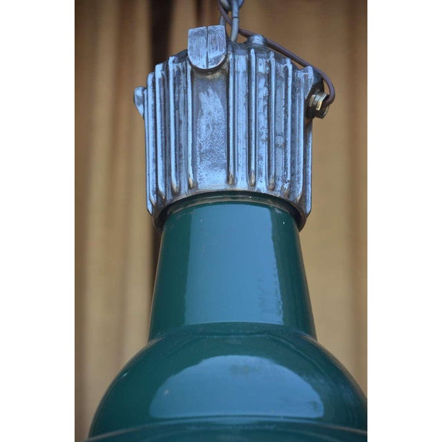 Dark Green French Industrial Workshop Hanging Light For Sale - Image 4 of 6