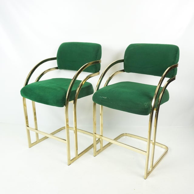 Comtemporary Shell Brass Cantilever Bar Stools - a Pair For Sale - Image 10 of 11