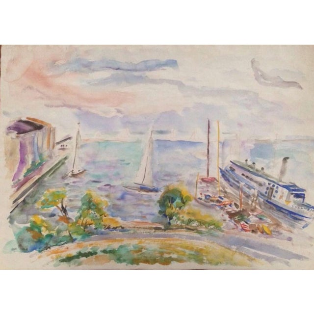 1950s Esther Landis Double Sided Chicago Pier Painting For Sale