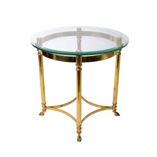 Italian Brass & Glass Hoof Feet Table For Sale