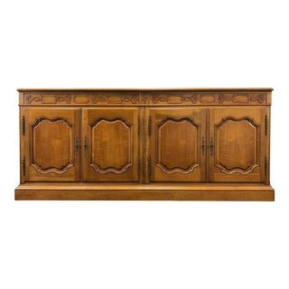Baker Walnut French Country Sideboard Credenza For Sale