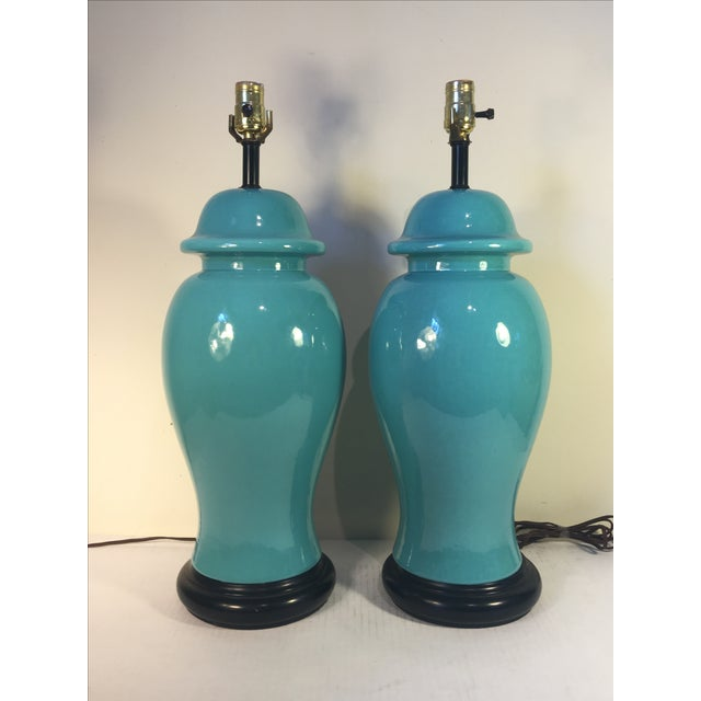 Vintage Turquoise Ginger Jar Lamps - A Pair - Image 2 of 4