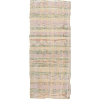 "Vintage Pastel Colors Turkish Flat Weave Rug - 3'3"" X 8'4"" For Sale"