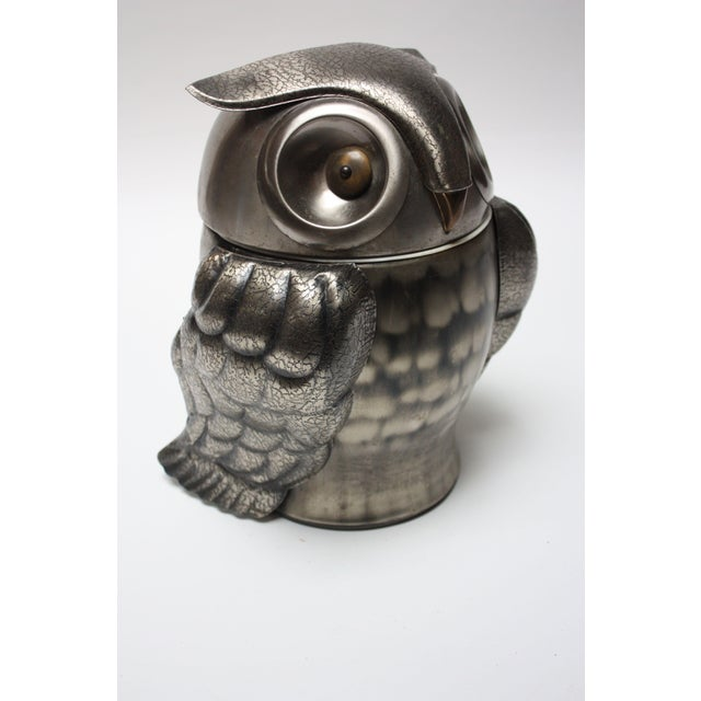 1960s Japanese 'Pewtertone' owl ice bucket from the Olde Tankard series imported by Seymour Mann. Composed of pewter-metal...