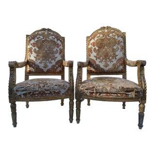 Louis XVI Giltwood Fauteuils - A Pair For Sale