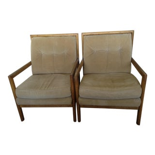 Corduroy Upholstered Arm Chairs - A Pair For Sale