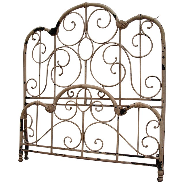 Distressed Wrought Iron Queen Bed For Sale